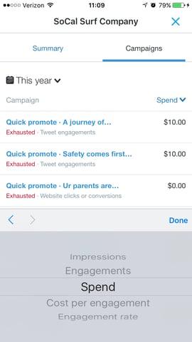 Quick promote de Twitter para móvil en Android de Twitter Analytics.