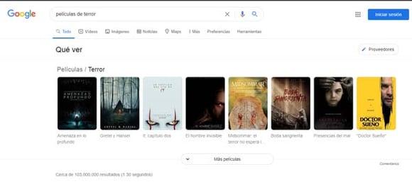 Resultados de «películas de terror» en la primera SERP de Google