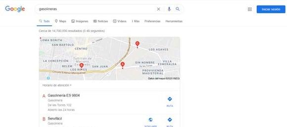 Resultados por localización en la primera página de resultados de Google