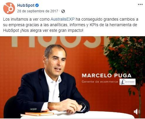 Retención de clientes- estrategia de testimonios en redes sociales de HubSpot