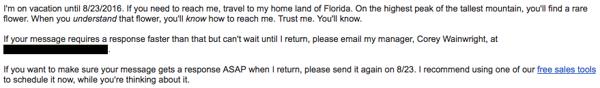 Correo de respuesta automática para cuando se está fuera de la oficina con una búsqueda del tesoro
