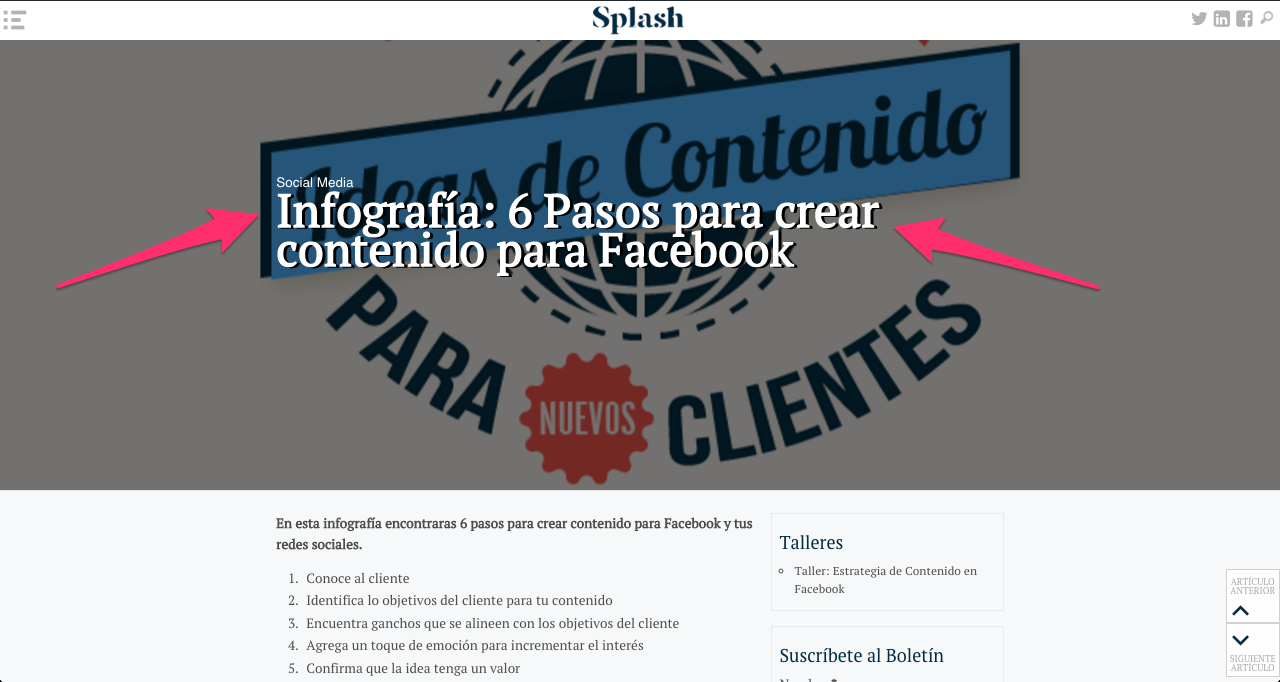 Blog post tipo Infografia