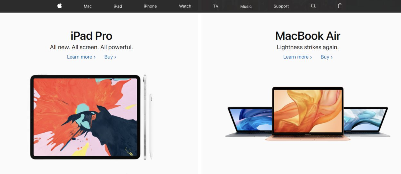 ejemplo de colores para páginas web: apple