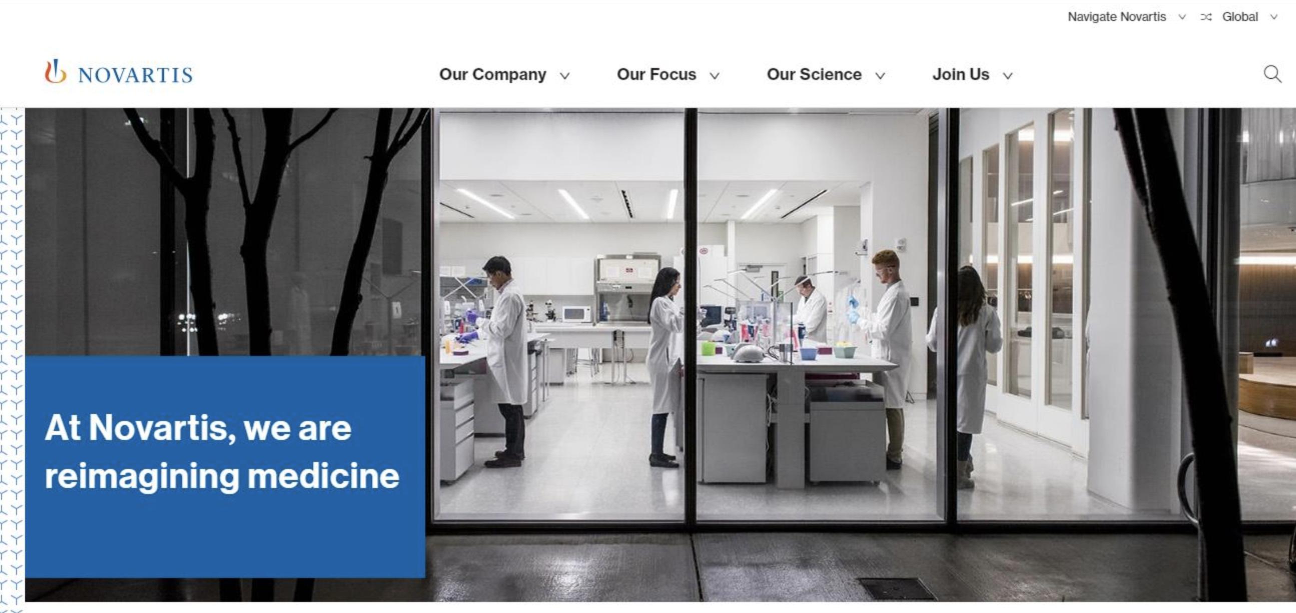 ejemplo de combinaciones de colores para páginas web: Novartis