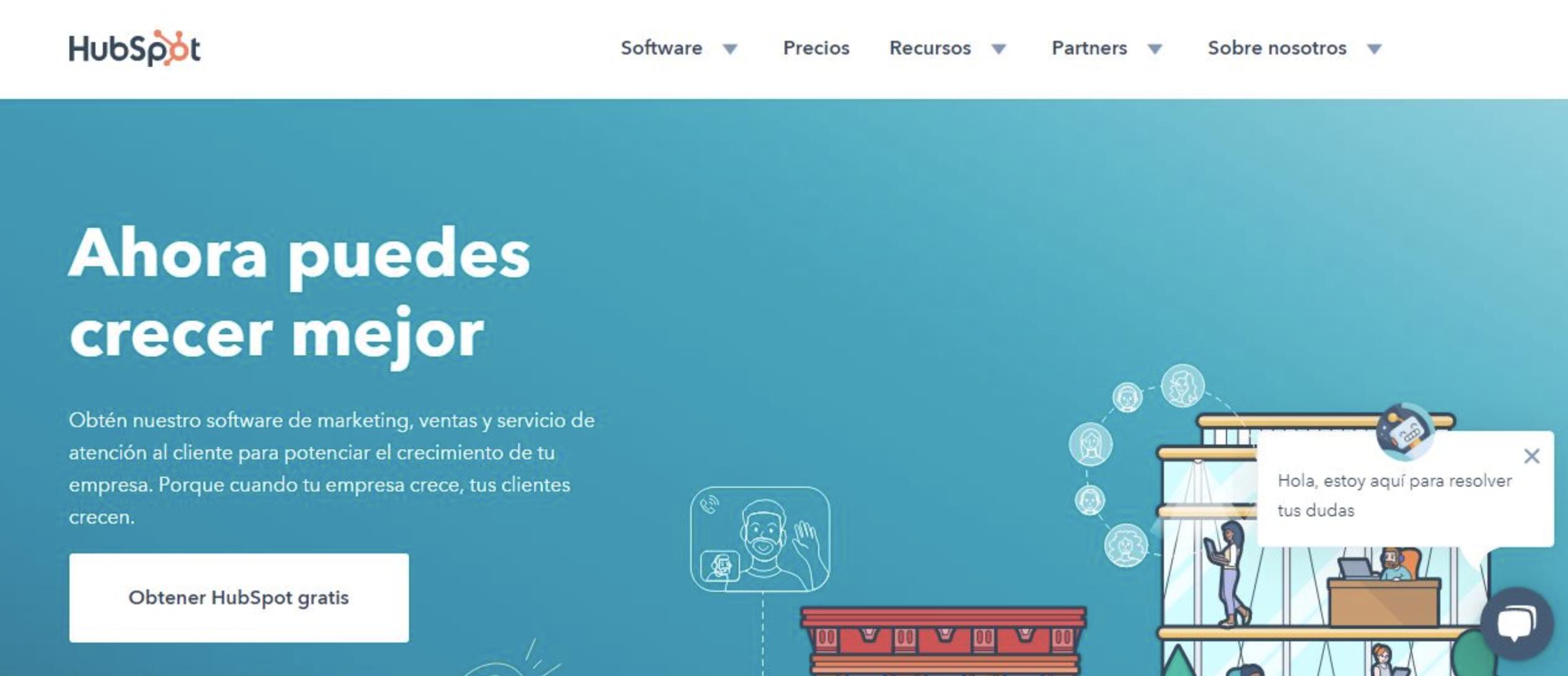 ejemplo de combinación de colores en sitio web: HubSpot
