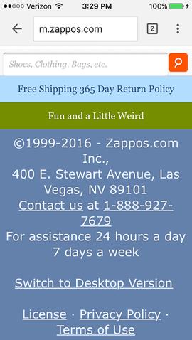 Sección inferior del sitio móvil de Zappos