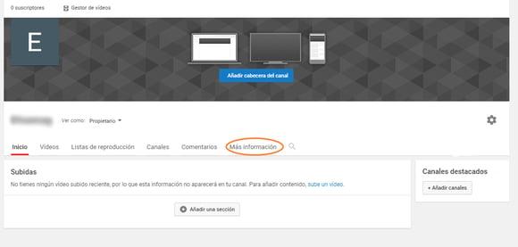Seleccionar «Más información» para mejorar la descripción de tu canal de YouTube