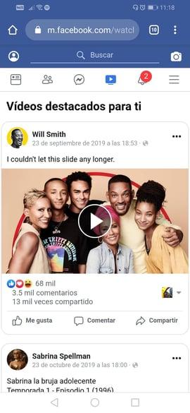 Sitio móvil de Facebook