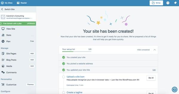 Sitio recién creado en WordPress