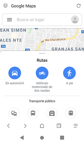 Sitio web móvil de Google Maps