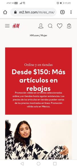 Sitio web móvil de H&M