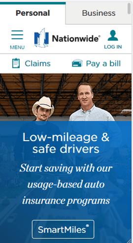 Sitio web móvil de Nationwide Insurance