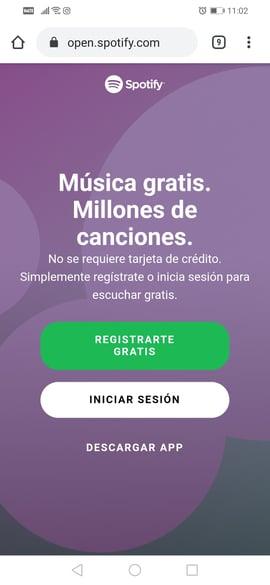 Sitio web móvil de Spotify