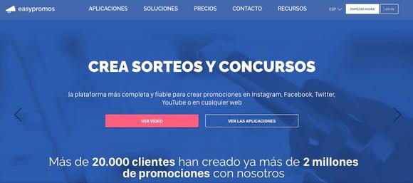 Software para sorteos en Facebook de Easypromos