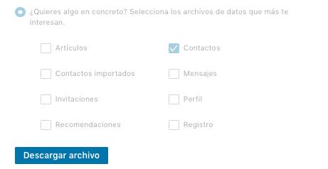 Solicitar archivo de contactos en LinkedIn