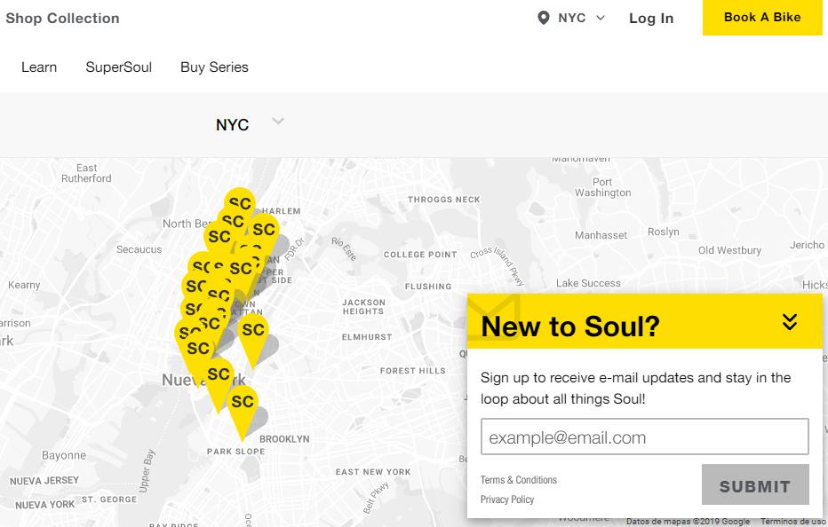 SoulCycle ejemplo formularios