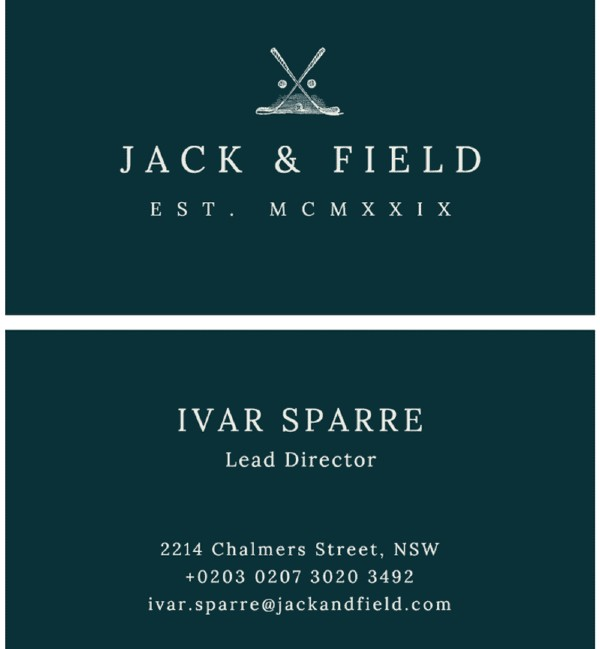 Tarjetas de presentación minimalistas: Jack and Field