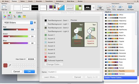 Temas de Office para elegir esquemas de colores