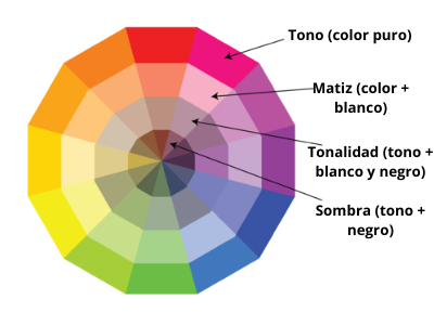 Teoría del color- círculo cromático con tonos, matices, tonalidades y sombras