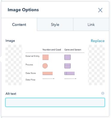 Ventana de optimización de imagen en CMS de HubSpot