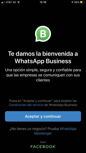 WhatsApp Business - aceptar la política de privacidad