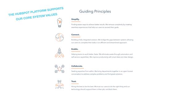 Sistema principal de valores de HubSpot