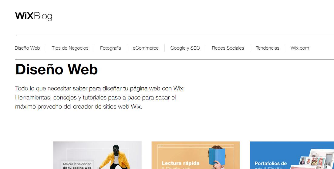 Wix blog de diseño