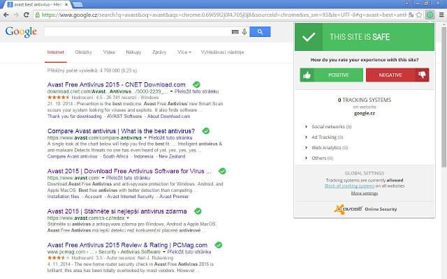 extension de Chrome Avast Online Security