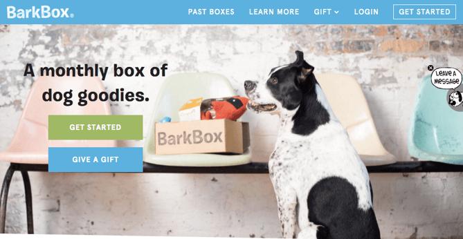 Call to action de Barkbox