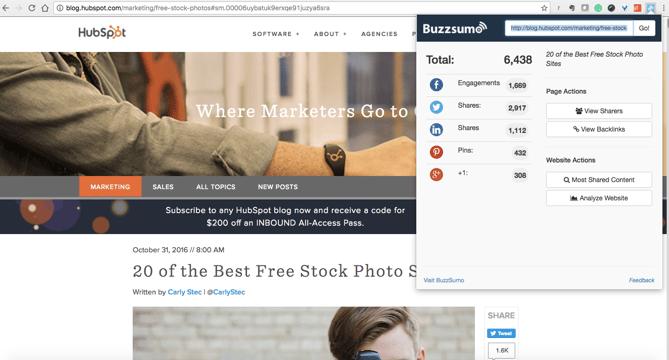 extension de Chrome BuzzSumo