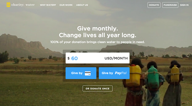 Call to action de charity:water