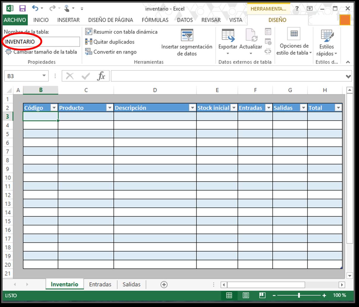 cómo hacer tabla de inventario en excel