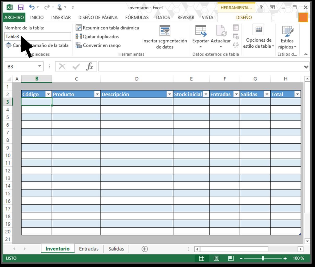 cómo hacer tabla para inventario en excel