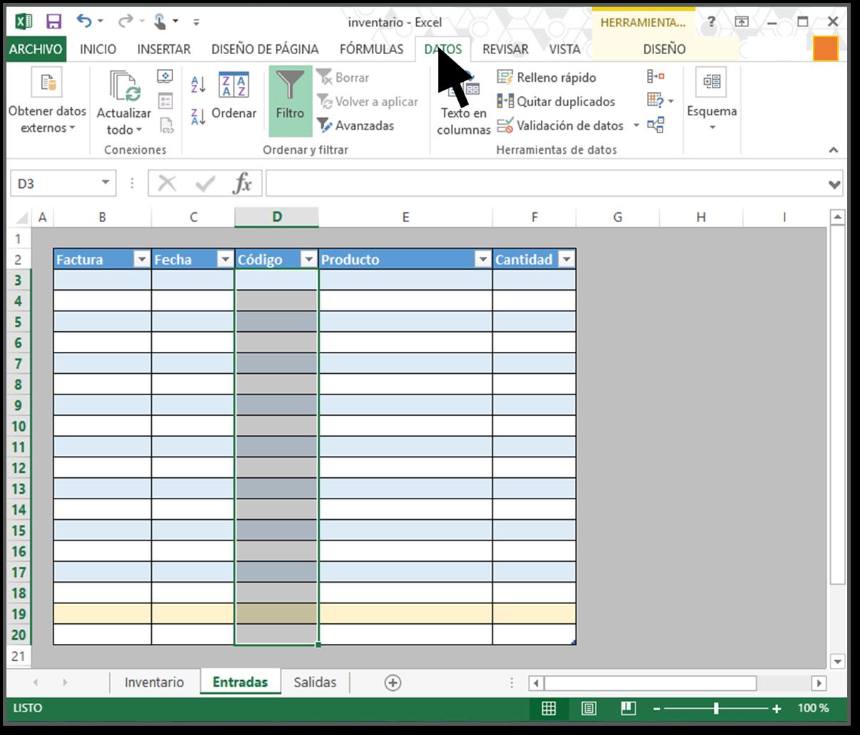 datos cómo hacer inventario excel con paso a paso
