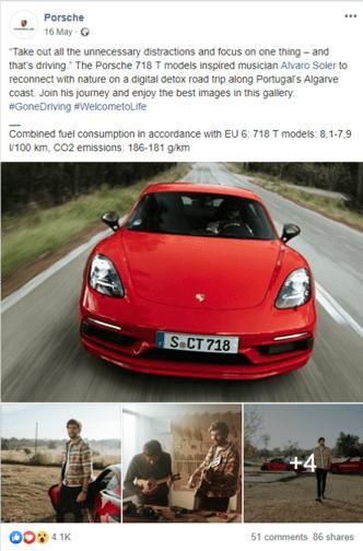campaña bienestar social Porsche en redes sociales