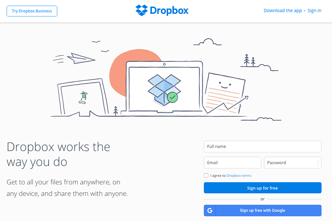 Call to action de Dropbox