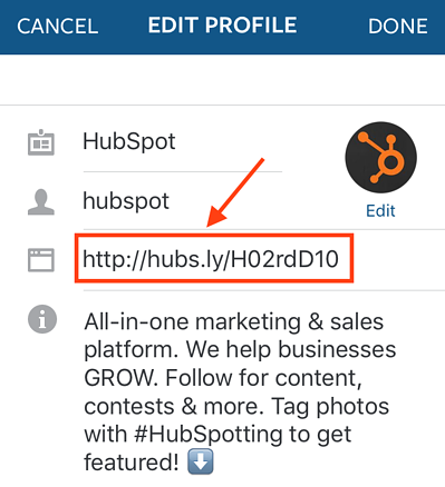 Enlace en la biografía a la cuenta de Instagram de HubSpot