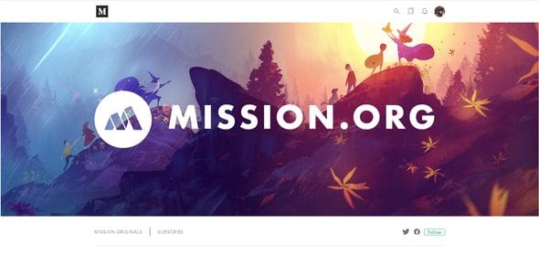ejemplo de cabecera del blog de Mission.org en Medium
