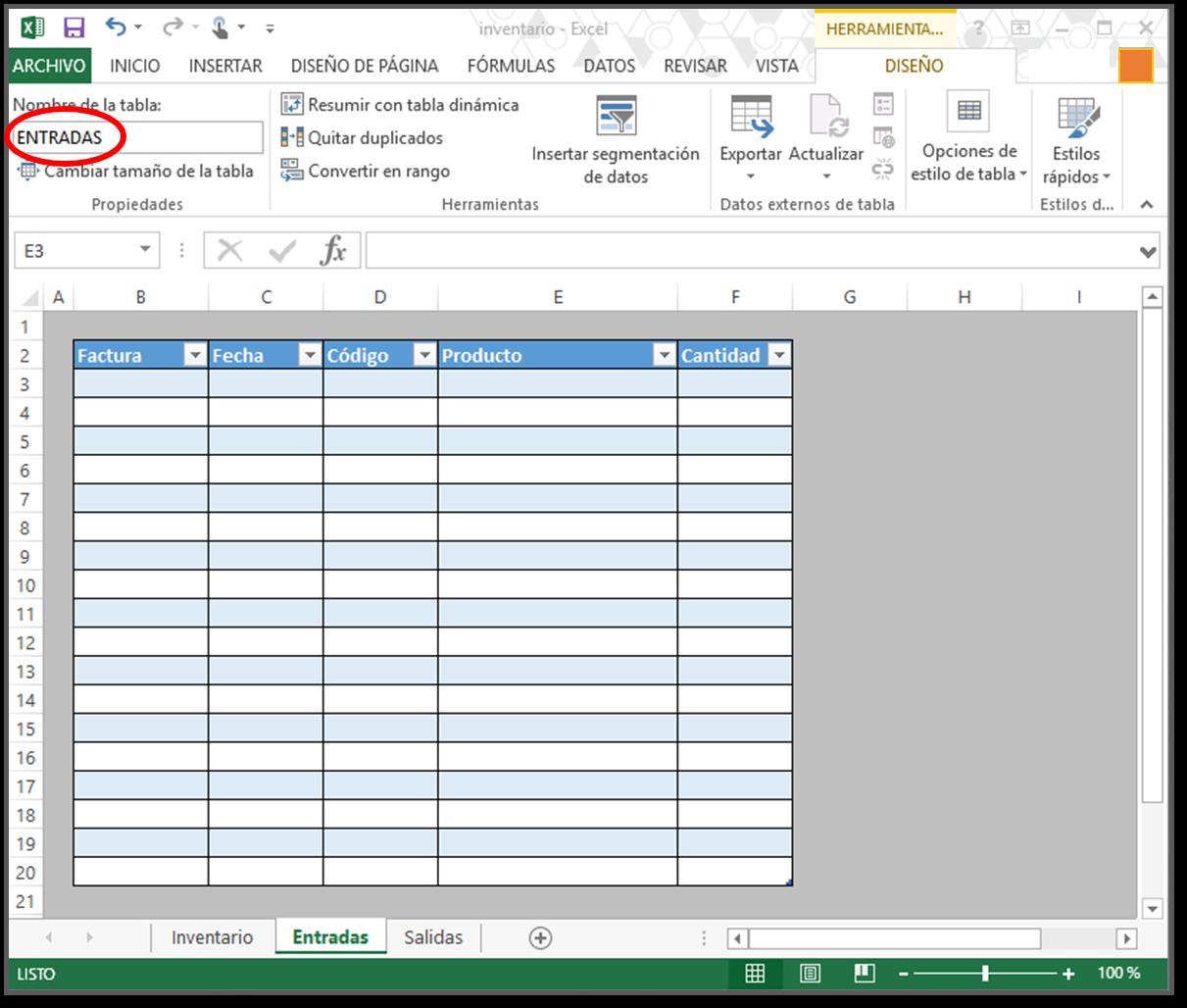 entrada cómo hacer tabla de inventario en excel