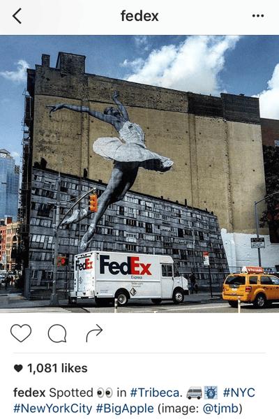 Pie de foto en Instagram con emoticonos de FedEx