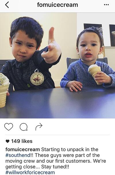 Pie de foto de Instagram con dos hashtags redactado por FOMU Ice Cream