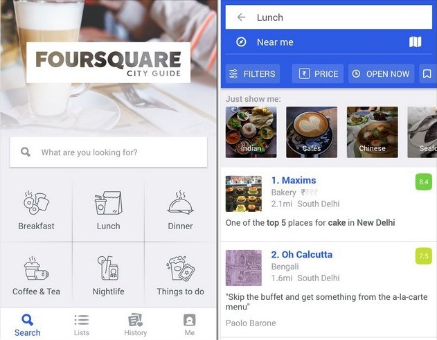 App móvil Foursquare City Guide