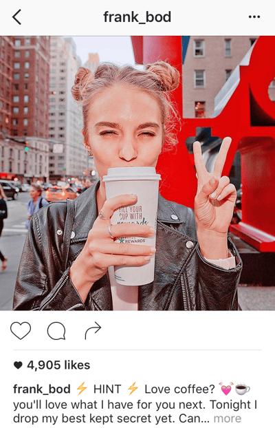 Pie de foto en Instagram de Frank Body que comienza con lo más importante
