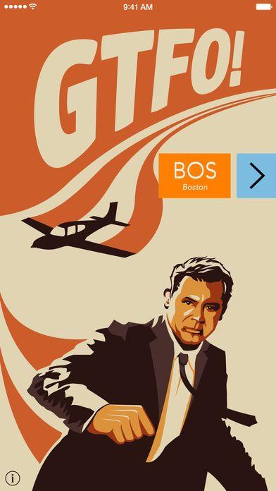 Pantalla principal de la app móvil Get the Flight Out