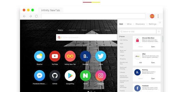 extension de Chrome Infinity New Tab