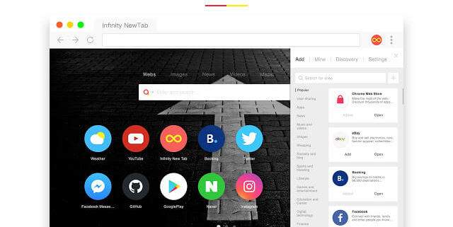extension de Chrome Infinity New Tab