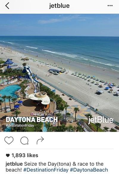 Pie de foto de Instagram con tono desenfadado y juegos de palabras de JetBlue