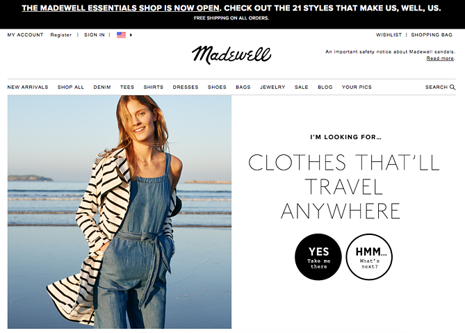 Call to action de Madewell