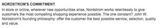 Ejemplo de misión de una empresa: Nordstrom