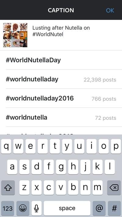 Usuario de Nutella mostrando cómo usar las sugerencias de hashtags de Instagram en un pie de foto